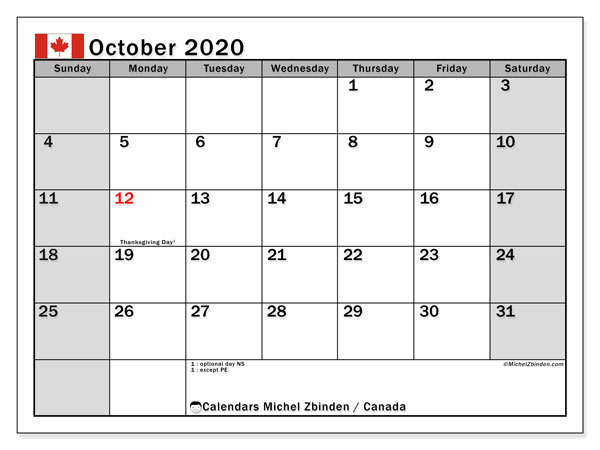 October 2020 Calendar, with the holidays of Canada. Free printable calendar with public holidays.