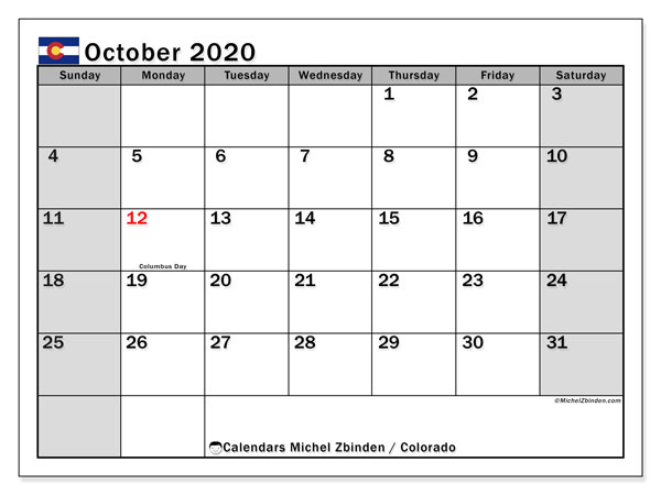 October 2020 Calendar, with the holidays of Colorado. Free printable calendar with public holidays.