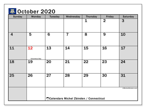 October 2020 Calendar, with the holidays of Connecticut. Free printable calendar with public holidays.