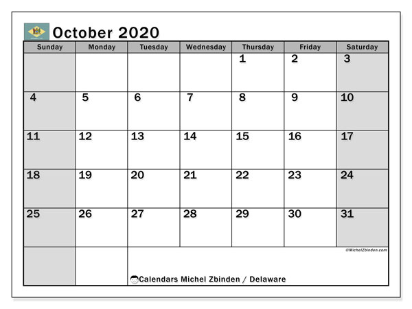 October 2020 Calendar, with the holidays of Delaware. Free printable calendar with public holidays.