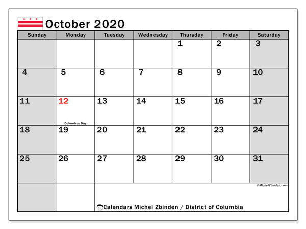 October 2020 Calendar, with the District of Columbia holidays. Holidays calendar to print free.