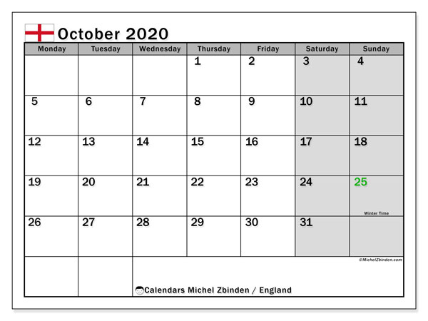 Calendar October 2020 - England. Public Holidays. Monthly Calendar and schedule to print free.