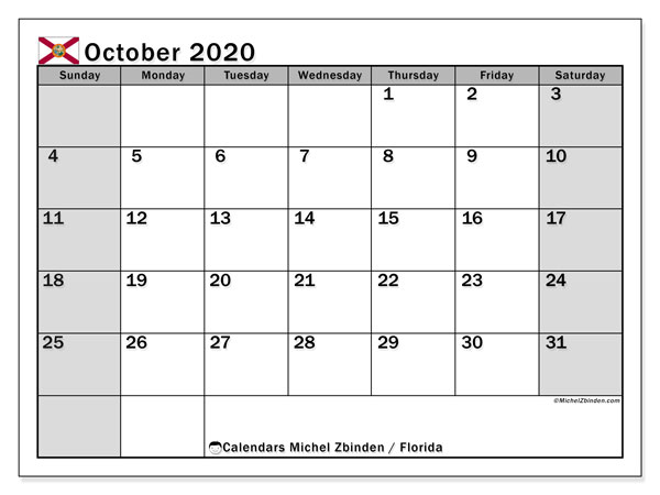 Calendar October 2020 - Florida. Public Holidays. Monthly Calendar and agenda to print free.