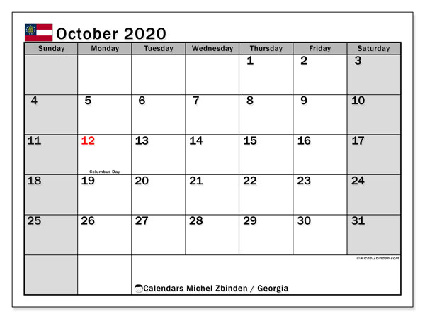 "Printable ""Georgia"" calendar with public holidays. Monthly October 2020 calendar and schedule to print free."
