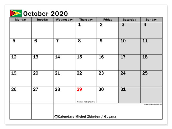 October 2020 Calendar, with the holidays of Guyana. Free printable calendar with public holidays.