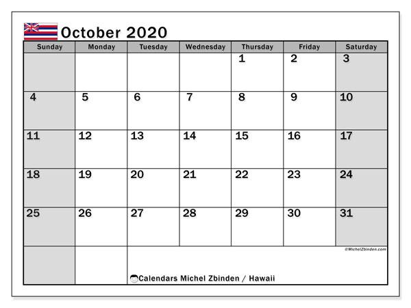October 2020 Calendar, with the Hawaii holidays. Holidays calendar to print free.