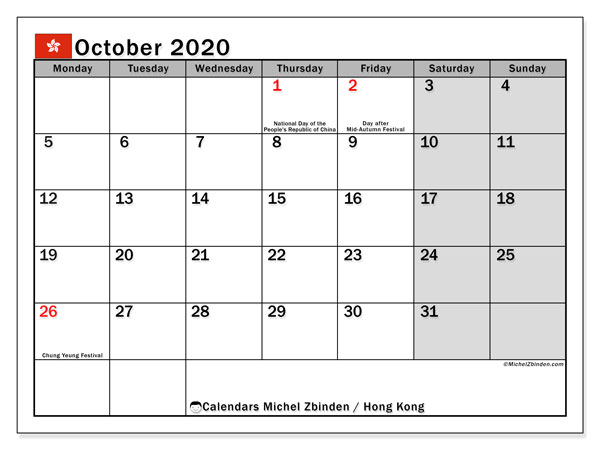 October 2020 Calendar, with the holidays of Hong Kong. Free printable calendar with public holidays.