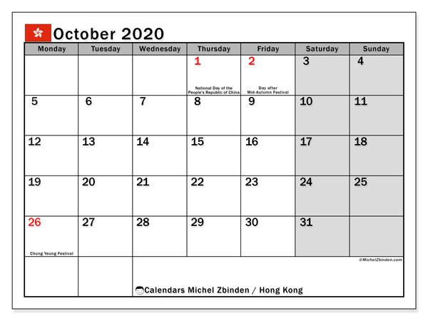 October 2020 Calendar, with the holidays of Hong Kong. Holidays calendar to print free.