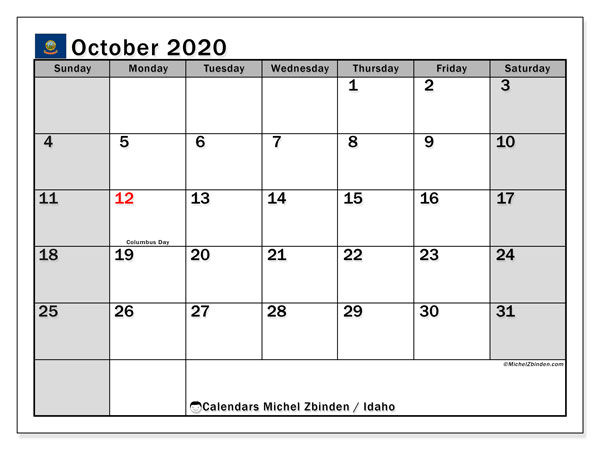 October 2020 Calendar, with the holidays of Idaho. Free printable calendar with public holidays.