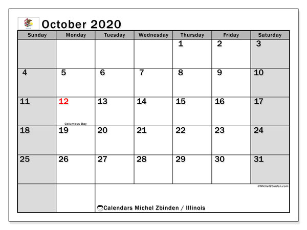 October 2020 Calendar, with the holidays of Illinois. Holidays calendar to print free.