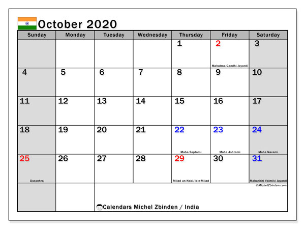 Calendar October 2020 - India. Public Holidays. Monthly Calendar and free printable bullet journal.