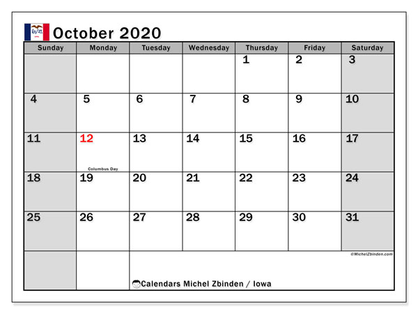 October 2020 Calendar, with the holidays of Iowa. Holidays calendar to print free.