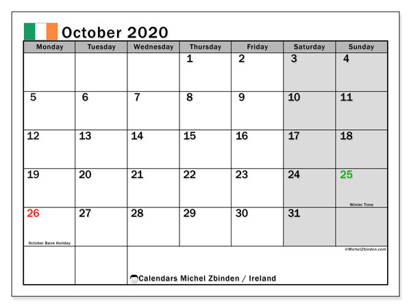 Calendar October 2020, with the holidays of Ireland. Calendar to print free.