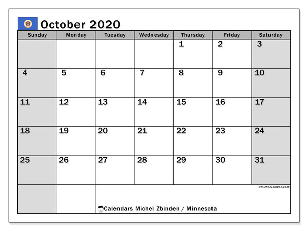 October 2020 Calendar, with the holidays of Minnesota. Free printable calendar with public holidays.