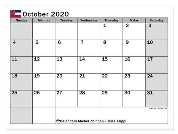 October 2020 Calendar, with the Mississippi holidays. Holidays calendar to print free.