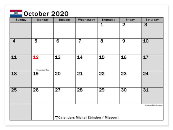 October 2020 Calendar, with the holidays of Missouri. Free printable calendar with public holidays.