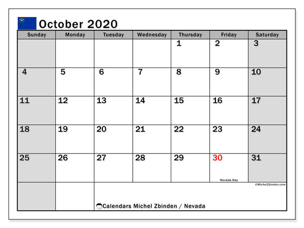 October 2020 Calendar, with the holidays of Nevada. Holidays calendar to print free.