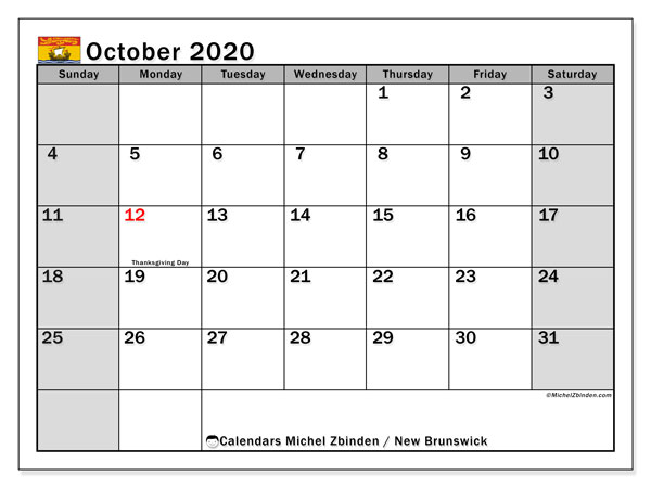 October 2020 Calendar, with the holidays of New Brunswick. Free printable calendar with public holidays.