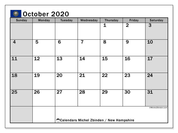 "Printable ""New Hampshire"" calendar with public holidays. Monthly October 2020 calendar and planner to print free."