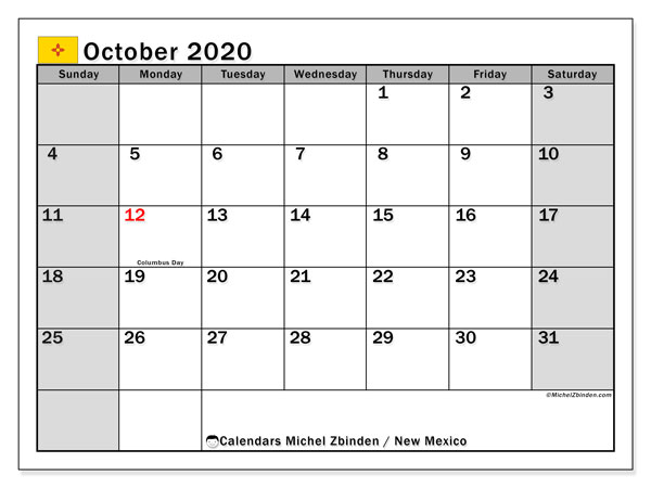 Calendar October 2020 - New Mexico. Public Holidays. Monthly Calendar and agenda to print free.