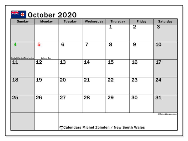 October 2020 Calendar, with the holidays of New South Wales. Holidays calendar to print free.