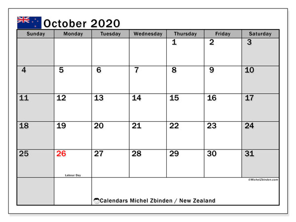 October 2020 Calendar, with the holidays of New Zealand. Free printable calendar with public holidays.
