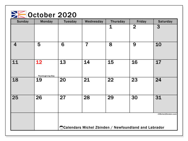 Calendar October 2020 - Newfoundland and Labrador. Public Holidays. Monthly Calendar and free printable planner.