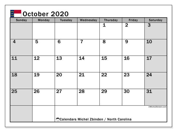 October 2020 Calendar, with the holidays of North Carolina. Holidays calendar to print free.