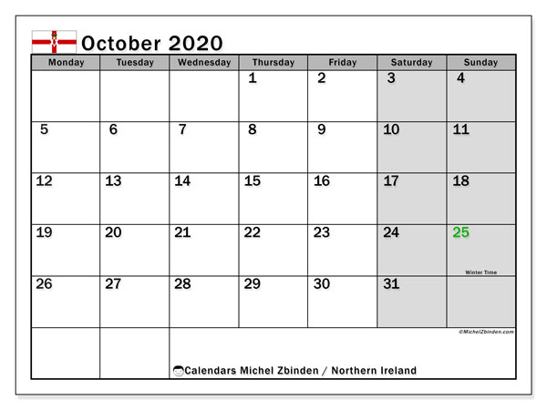 October 2020 Calendar, with the holidays of Northern Ireland. Free printable calendar with public holidays.