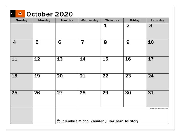 "Calendar ""Northern Territory"" with public holidays, October 2020, ready to print."