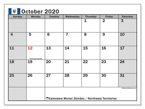 October 2020 Calendar, with the holidays of Northwest Territories. Holidays calendar to print free.