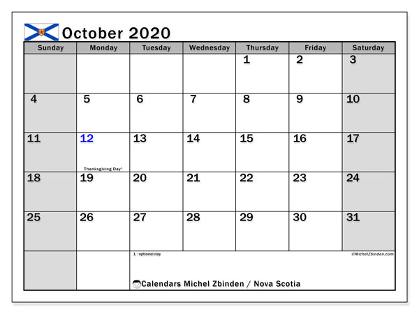 "Printable ""Nova Scotia"" calendar with public holidays. Monthly October 2020 calendar and free schedule to print."