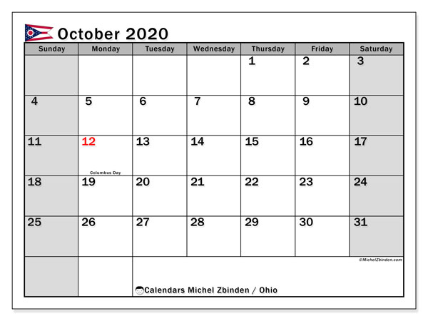 Calendar October 2020 - Ohio. Public Holidays. Monthly Calendar and free schedule to print.