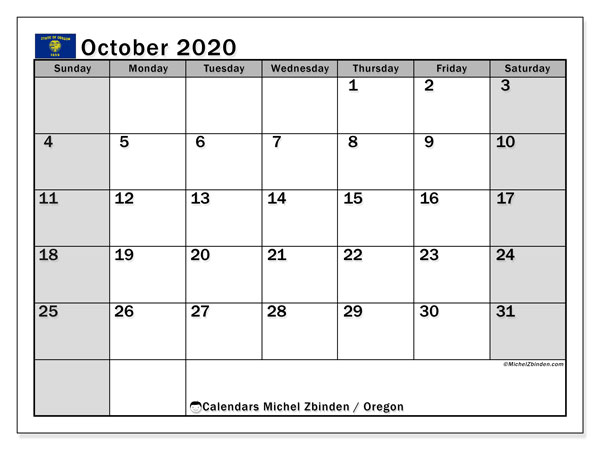 October 2020 Calendar, with the holidays of Oregon. Free printable calendar with public holidays.