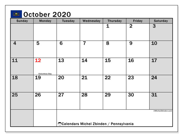 October 2020 Calendar, with the holidays of Pennsylvania. Free printable calendar with public holidays.