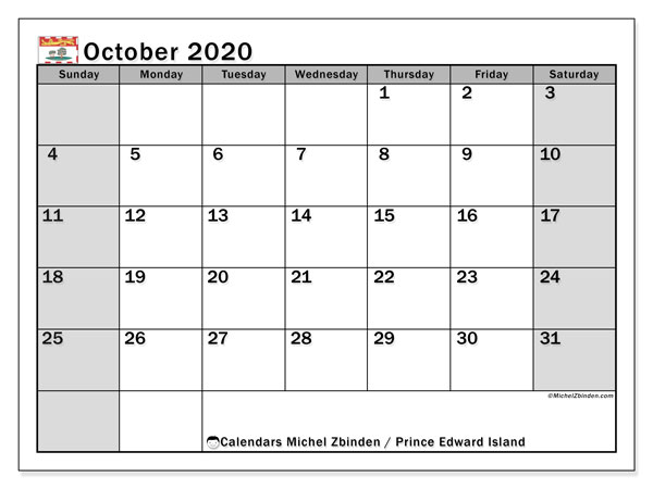 October 2020 Calendar, with the holidays of Prince Edward Island. Holidays calendar to print free.