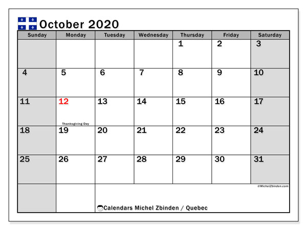 October 2020 Calendar, with the holidays of Quebec. Free printable calendar with public holidays.