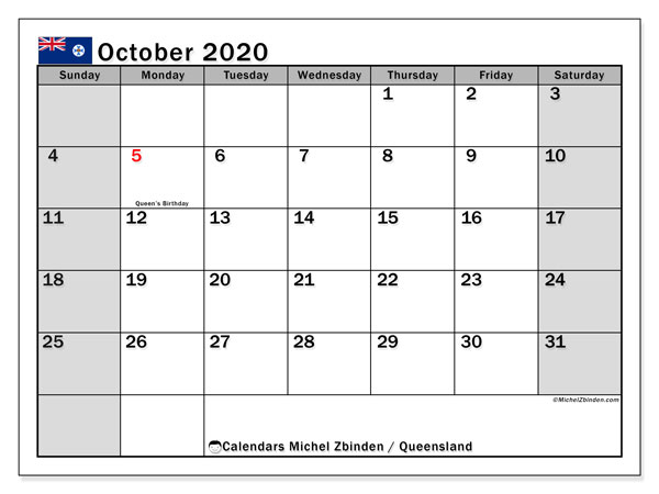 October 2020 Calendar, with the holidays of Queensland. Free printable calendar with public holidays.