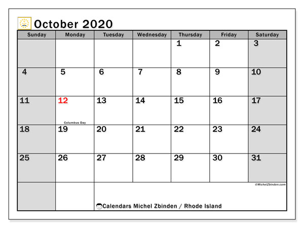 October 2020 Calendar, with the holidays of Rhode Island. Holidays calendar to print free.