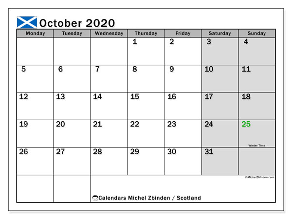 October 2020 Calendar, with the holidays of Scotland. Free printable calendar with public holidays.