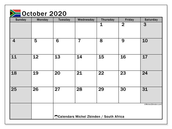 Printable 2020 calendars, Public Holidays