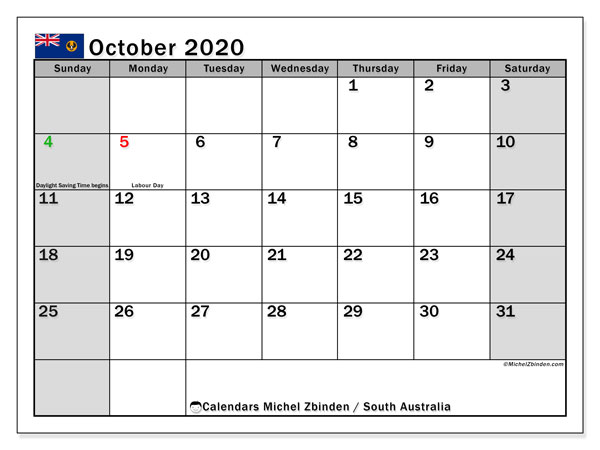 October 2020 Calendar, with the holidays of South Australia. Holidays calendar to print free.