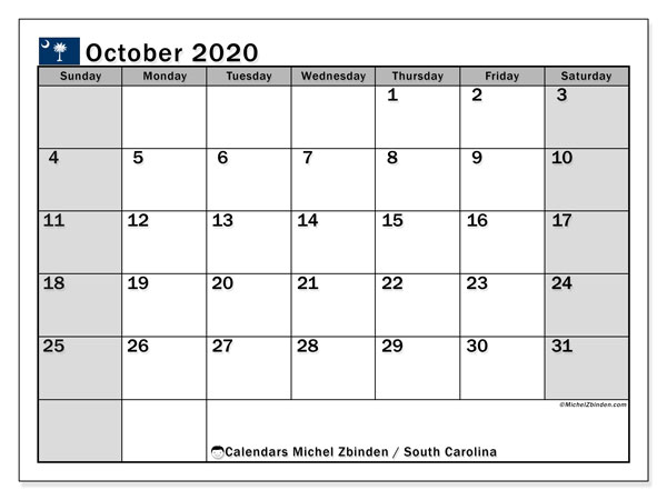 October 2020 Calendar, with the holidays of South Carolina. Free printable calendar with public holidays.