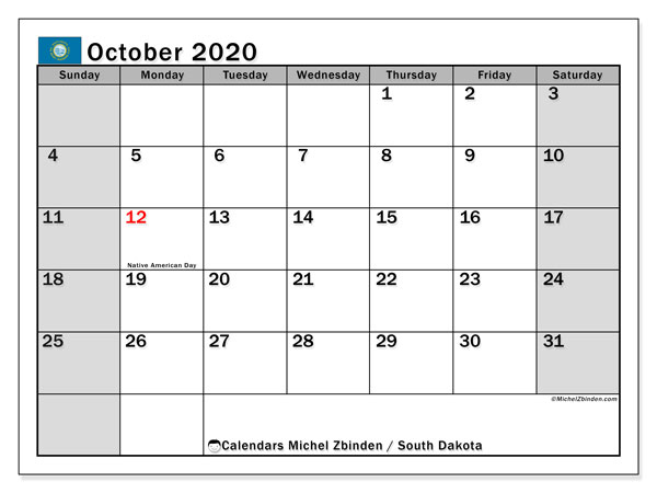 October 2020 Calendar, with the holidays of South Dakota. Free printable calendar with public holidays.