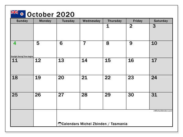 Calendar October 2020 - Tasmania. Public Holidays. Monthly Calendar and schedule to print free.