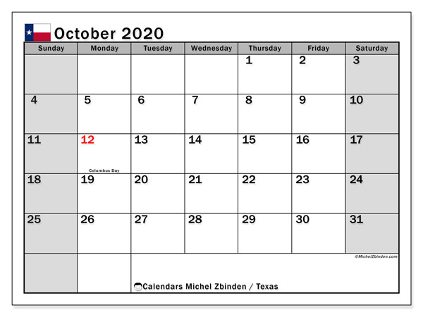 October 2020 Calendar, with the holidays of Texas. Holidays calendar to print free.
