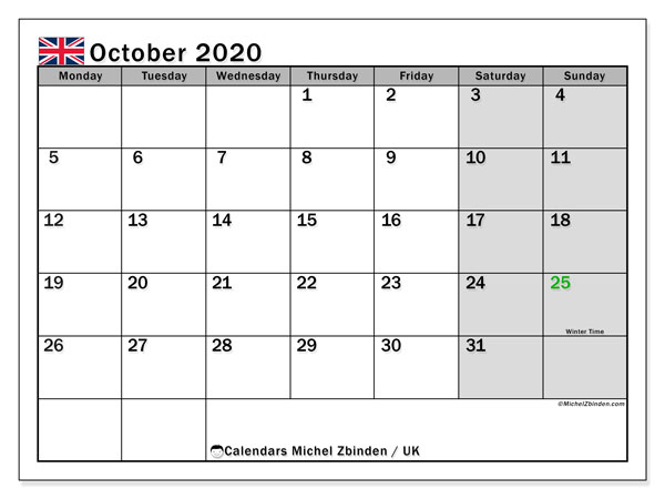 October 2020 Calendar, with the holidays of UK. Holidays calendar to print free.