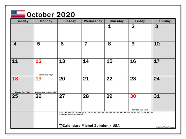 October 2020 Calendar, with the holidays of the USA. Holidays calendar to print free.