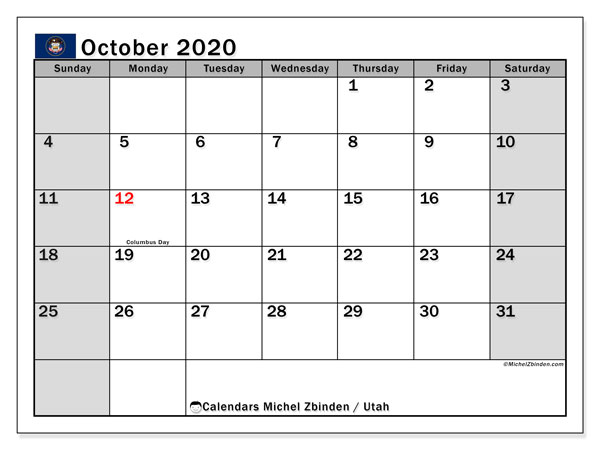"Printable ""Utah"" calendar with public holidays. Monthly October 2020 calendar and free printable planner."
