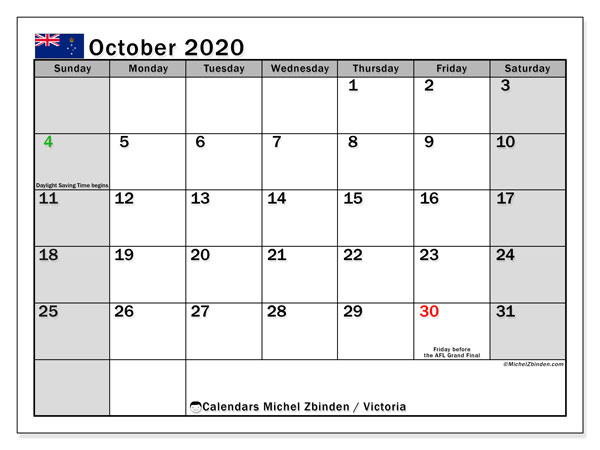 October 2020 Calendar, with the holidays of Victoria. Holidays calendar to print free.